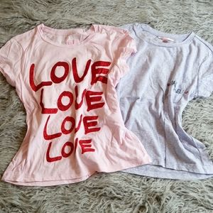 Lot 2 Victoria Secret Sleep Tees Glitter Graphics